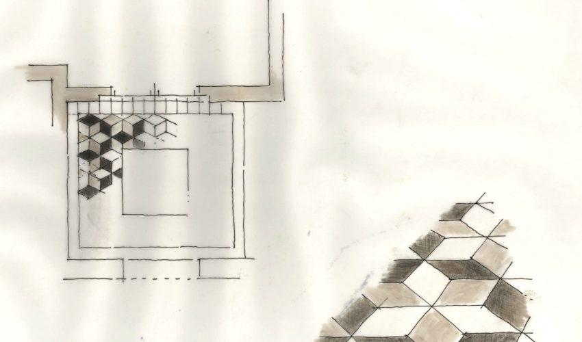Particolare studio casellario pavimenti in marmo
