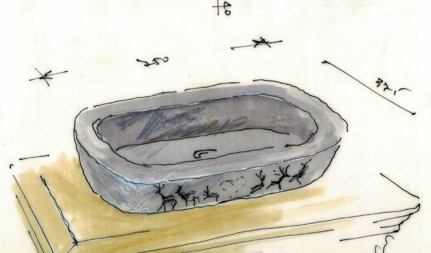 Progetto lavabo in pietra naturale di Luserna con decoro personalizzato