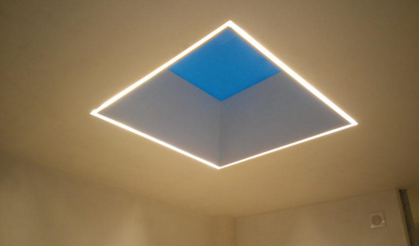 Particolare luce zenitale villa contemporanea
